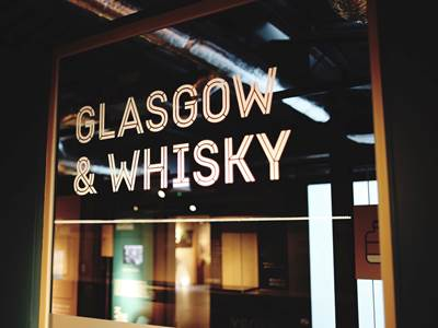 The Glasgow & Whisky exhibit included in the self-guided part of a distillery tour