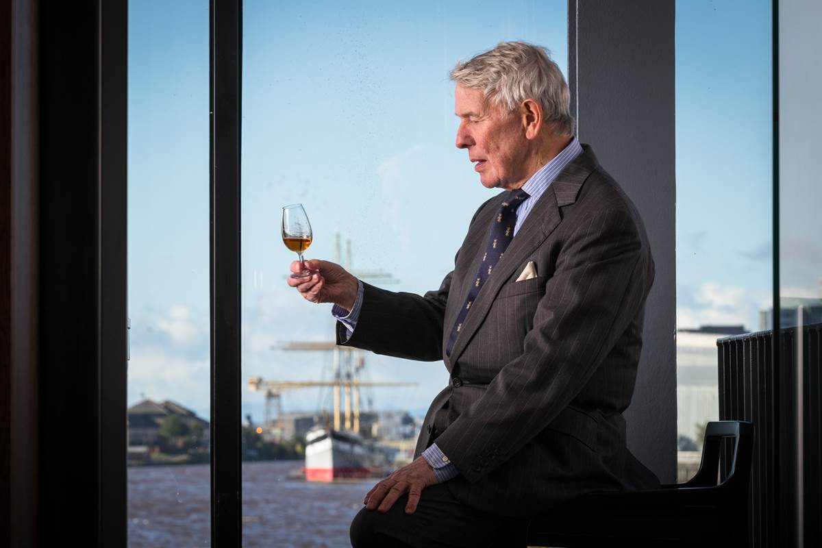 Tim Morrison, Chairman of The Clydeside Distillery, with a glass of whisky