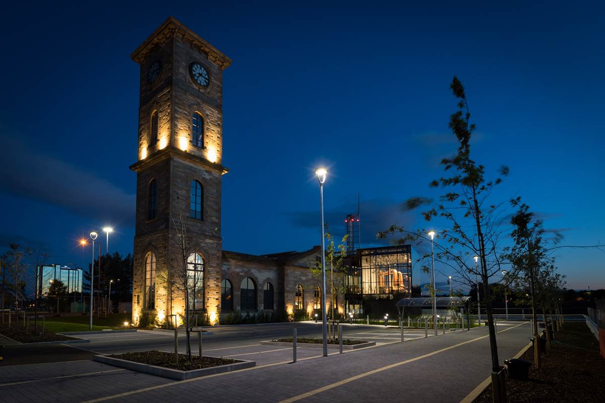 External image of The Clydeside Distillery at night